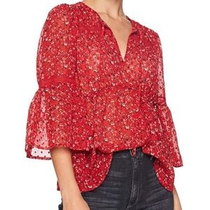 Lucky Brand Red Floral Swiss Dot Ditsy Top NWT